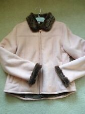 OUTBACK TRADING CO Womens Tooled MicroSuede Faux Fur Pink Jacket Coat Medium