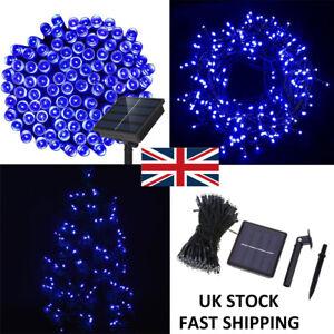 500 LED Blue Solar Power Fairy String Lights Christmas Party Outdoor DIY Lamp UK