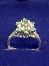 Vintage REGO Diamond & Emerald 14k Yellow Gold Ring Size 7.5