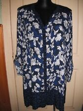 "AUTOGRAPH ROYAL BLUE ""PRINTED"" LONGLINE TUNIC TOP SZ 20-NEW STOCK JUST IN!!!"