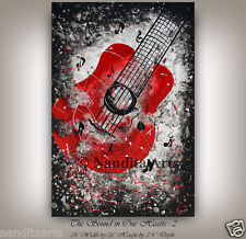 "Guitar Painting, Guitar Art, Red Original Guitar Artwork 24""x 36""(60.96cmx91.44)"