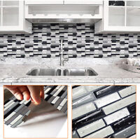 3D Mosaic Self Adhesive Wall Tile Brick Bathroom Kitchen Waterproof Sticker DIY