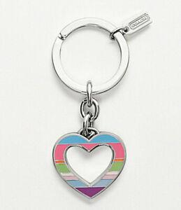 Coach Legacy Stripe Open Heart Keyring