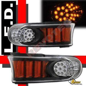 Black LED Front Bumper Corner Signal Lights Lamps For 07-14 Toyota FJ Cruiser
