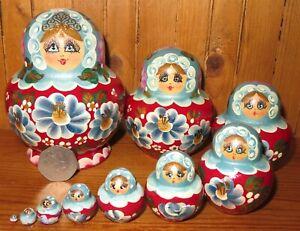 SLIGHT SECONDS Matryoshka Russian nesting Brown Copper dolls 10 SIMAKOVA signed