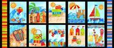 "Shore Thing Quilt Fabric 35"" x 42"" Beach Blocks Panel Style 9015/70 Multi"