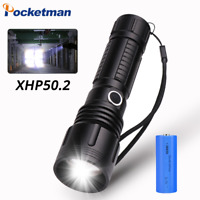 80000Lm XHP50 Led Flashligh 5Modes Zoomable Torch Rechargeable 18650 or 26650