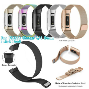 Compatible with Fitbit Charge 3/ 4 Strap Metal Loop Stainless Steel Adjustable