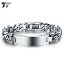 Quality TT 12mm Width Silver Stainless Steel Curb Chain ID Bracelet BBR229S NEW