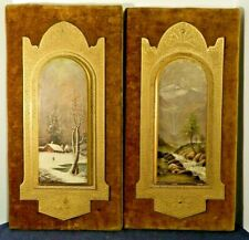 Antique Rare 1882 Pair Of Hand Painted Poultons Paintings 1 Titled December Joy