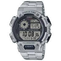 Casio Men's Quartz Illuminator World Time Silver-Tone 50Mm Watch Ae1400whd-1Av