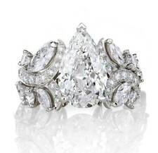 Certified 2.60Ct Pear Cut Diamond 14K White Gold Engagement & Wedding Ring