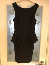 Ladies Clothes Size 10 TALL TOPSHOP black Smart Dress Peplum Dressy (162)