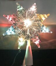 Vintage 10 Lights Blinking Christmas Silver Tinsel Star Tree Top Liberty Bell