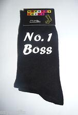 No 1 Boss Printed Design Mens Black Socks Great Birthday Present