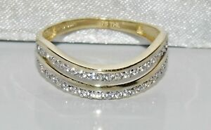 9ct Gold 0.25ct 2 Row Wishbone Eternity Wedding Ring size T - UK Hallmarked