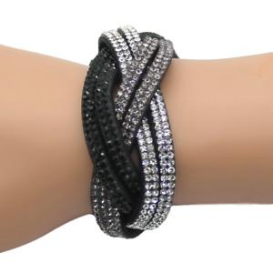 Made with Swarovski Elements Black Multi Row Wrap Pave Crystal Slake Bracelet