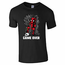 Game Over Character T-Shirt - Cartoon Wade Wilson Iron Throne Game of Fan Top