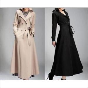 Elegant Womens Full-Length Parkas Maxi Trench Coat Double Breasted Belt Jacket n