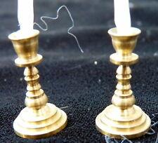 Vintage Brass CANDLESTICKS & CANDLES 1:12 Dollhouse Miniature