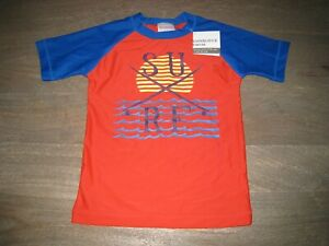 NWT Hanna Andersson Boys Rash Guard in Red, Blue Yellow. Short Sleeve. 120, 6  7