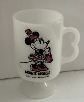 "Disney Minnie Mouse White Glass Coffee Mug /Hot Chocolate Cup 4 3/4"" Vintage 8oz"