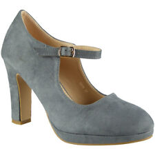 Womens Mary Jane Court Plarform Shoes Ladies Suede Party Buckle High Heel Size