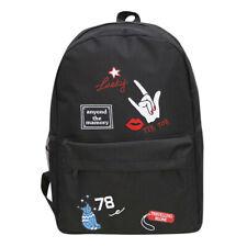 Women Girls Preppy Print Shoulder Bookbags School Travel Backpack Bag Black