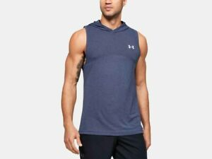 Under Armour Men's UA Fitted Seamless Sleeveless Hoodie 1351446 Blue Ink (497)