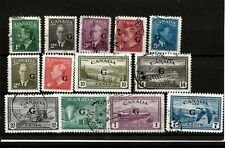 More details for canada 1950 (a221) g o-prts sg01178--0190 13 stamps 2 mm sg80-83 others fine usd