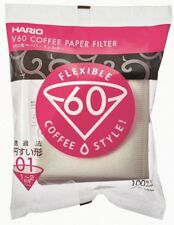 HARIO V60 Coffee Paper Filter Flexible 100 Sheets White Unbleached from Japan