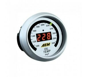 AEM 30-4402 52mm Electronic 100-300F Oil Water Tranny Temperature Gauge Meter