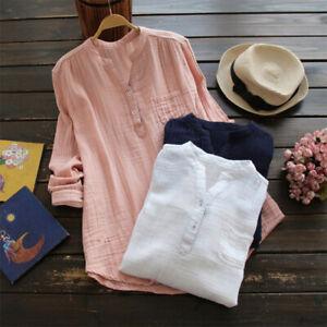Women Long Sleeve V Neck T-Shirt Cotton Linen Tee Casual Baggy Button Tunic Tops
