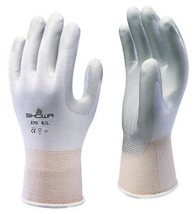 1 x Pair Showa Assembly Precision Grip Gloves Nitrile Work Snug Fit (370 WHITE)