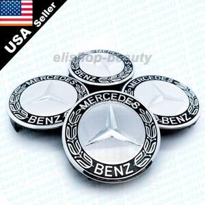 4PC Mercedes Benz Black Wheel Center Hub Caps Emblem 75MM AMG Applicable to All