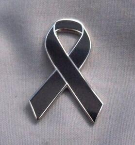 Enamel black ribbon anti-terrorism awareness pin badge / brooch. Peace, charity