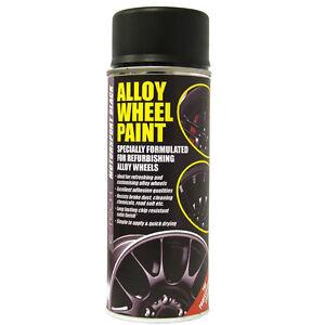 E-TECH Car Alloy Wheel Spray Paint MOTORSPORT BLACK 400ML Can Chip Resistant