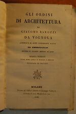 Libro antico legatura  BAROZZI DE VIGNOLA GLI ORDINI DI ARCHITETTURA 1846