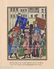 Truce-Richard II England-Charles France-Medieval-1844 ANTIQUE COLOR ART PRINT