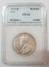 1917 (B) BRITISH INDIA 1 Rupee NNC MS-64 KING GEORGE V Silver@ KM#52