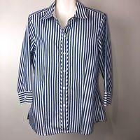 Foxcroft Tunic Blouse sz 10 Blue White Stripe 3/4 Sleeve No Iron