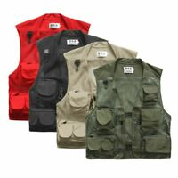 Men Fishing Vest Multi-Pocket Quick Dry Mesh Vest Jacket Outdoor Waistcoat