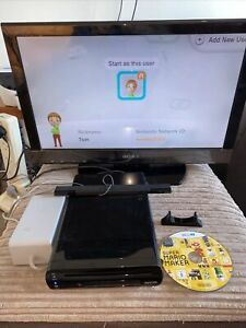 Nintendo Wii u Black 32GB, power supplies, charging stand & sensor Mario Maker