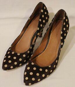 COUNTRY ROAD ~ Brown Beige Polka Dots Ponyskin Leather Stiletto Heel Pumps 40 9
