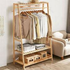 Stabil Kleiderständer Garderobenständer Kleiderstange mit Schuhablage Bambus DHL