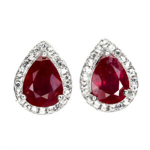 Pear Red Ruby 8x6mm Cz 14K White Gold Plate 925 Sterling Silver Earrings