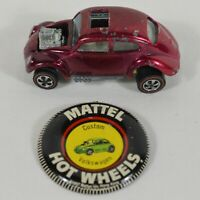 Vtg 1967 Hot Wheels Redline Magenta Custom VW Volkswagen Beetle Bug Button