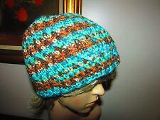 Crochet Ski Hat Handmade in USA Men Women Turquoise Greens Browns