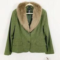 NEW Norton McNaughton Size 16 Olive Green Tweed Faux Fur Collar Jacket Blazer