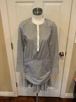 Veronica Beard Blue/White Striped Button-Up Drop Waist Shirt Dress, Size S